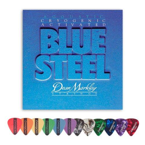 Acoustic Guitar Sampler (Dean Markley 2038 Blue Steel MED Acoustic Guitar Strings (.013-.056) Includes Pick Sampler)