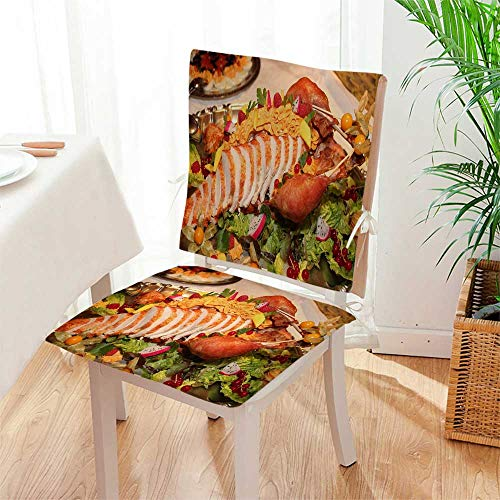 (Mikihome Seat Set Cushion A Delicious Salad Buffet 2 Piece Classic Decorative Chair pad Mat:W17 x H17/Backrest:W17 x H36)