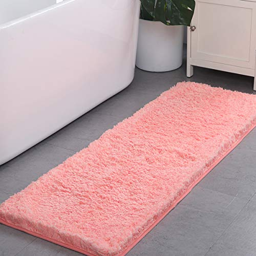 (HAOCOO Shaggy Bathroom Rugs, Luxury Bath Shower Mat Carpet Non-Slip,Water Absorbent, Machine-Washable, Soft Thick Plush Bath Floor Rug for Doormats Tub (17x24 inch, Coral Red))