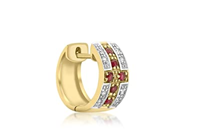 26be73c9a Genuine 9ct Yellow Gold Gents Diamond and Ruby Huggy Earring: Amazon.co.uk:  Jewellery