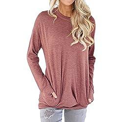 Shawhuwa Womens Long Sleeve Sweatshirt Loose T-Shirt Blouses Tops S Red
