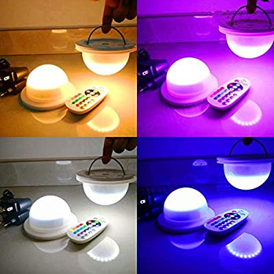 LACGO 18 LEDs 16 Color Options Remote Control Chargable Wedding Under Table Light, Waterproof LED Garden Light, Multicolor Swimming Pool Light for hotels, bars, home indoor outdoor decoration(1Pcs)