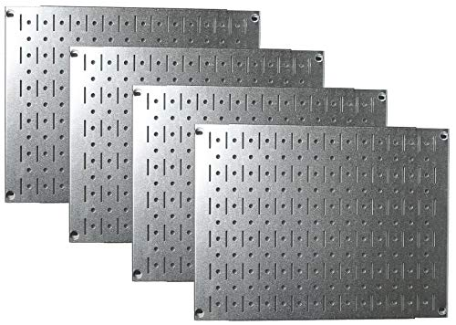 - Pegboard Wall Organizer Tiles - Wall Control Modular Galvanized Steel Pegboard Tiling Set - Four 12-Inch Tall x 16-Inch Wide Peg Board Panel Wall Storage Tiles - Easy to Install (Metallic)