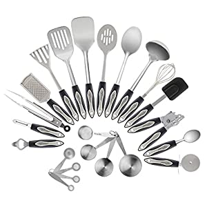 Stainless Steel Kitchen Utensil Set, 23-Pc Set, Everything You Need For Cooking Included, Great Gift Idea For Your Loved One.
