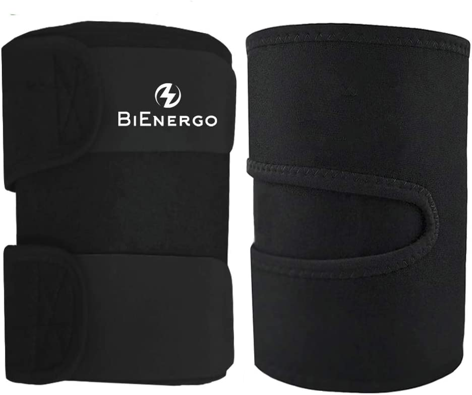 Thigh Trimmers for Men Women Sweat Bands for Tone Legs – Reduce Cellulite Body Wraps for Slimmer Thighs – Includes Carrying Bag