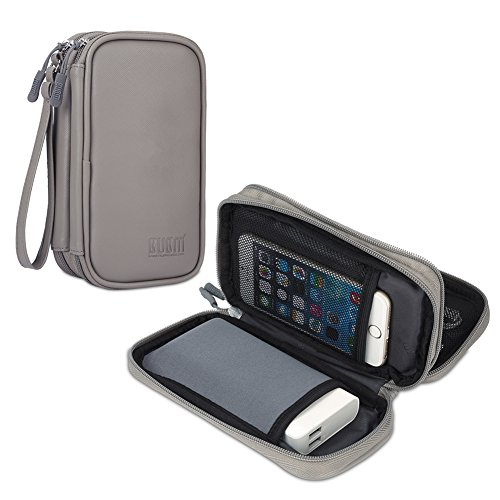 BUBM Travel Electronics Organizer, Carrying Pouch for Power Bank, Phone, Wall Charger, USB Cables and Other Phone Accessories, Gray PU from BUBM