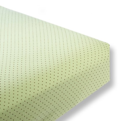 SwaddleDesigns Cotton Crib Sheet, Made in USA, Premium Cotton Flannel, Brown Polka Dots on Lime ()