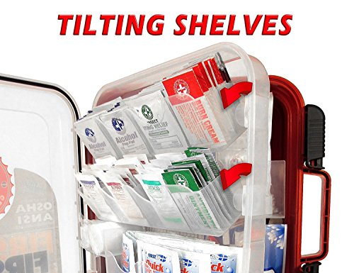 First Aid Kit Hard Red Case 326 Pieces Exceeds OSHA and ANSI Guidelines 100 People - Office, Home, Car, School, Emergency, Survival, Camping, Hunting, and Sports by Be Smart Get Prepared (Image #6)