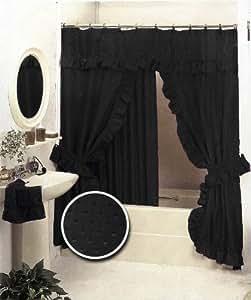 Amazon Com Black Double Swag Fabric Shower Curtain Set