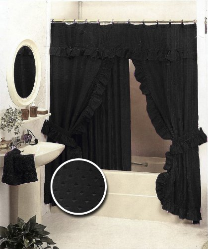 Black Double Swag Fabric Shower Curtain Set Valance Amazoncouk Kitchen Home
