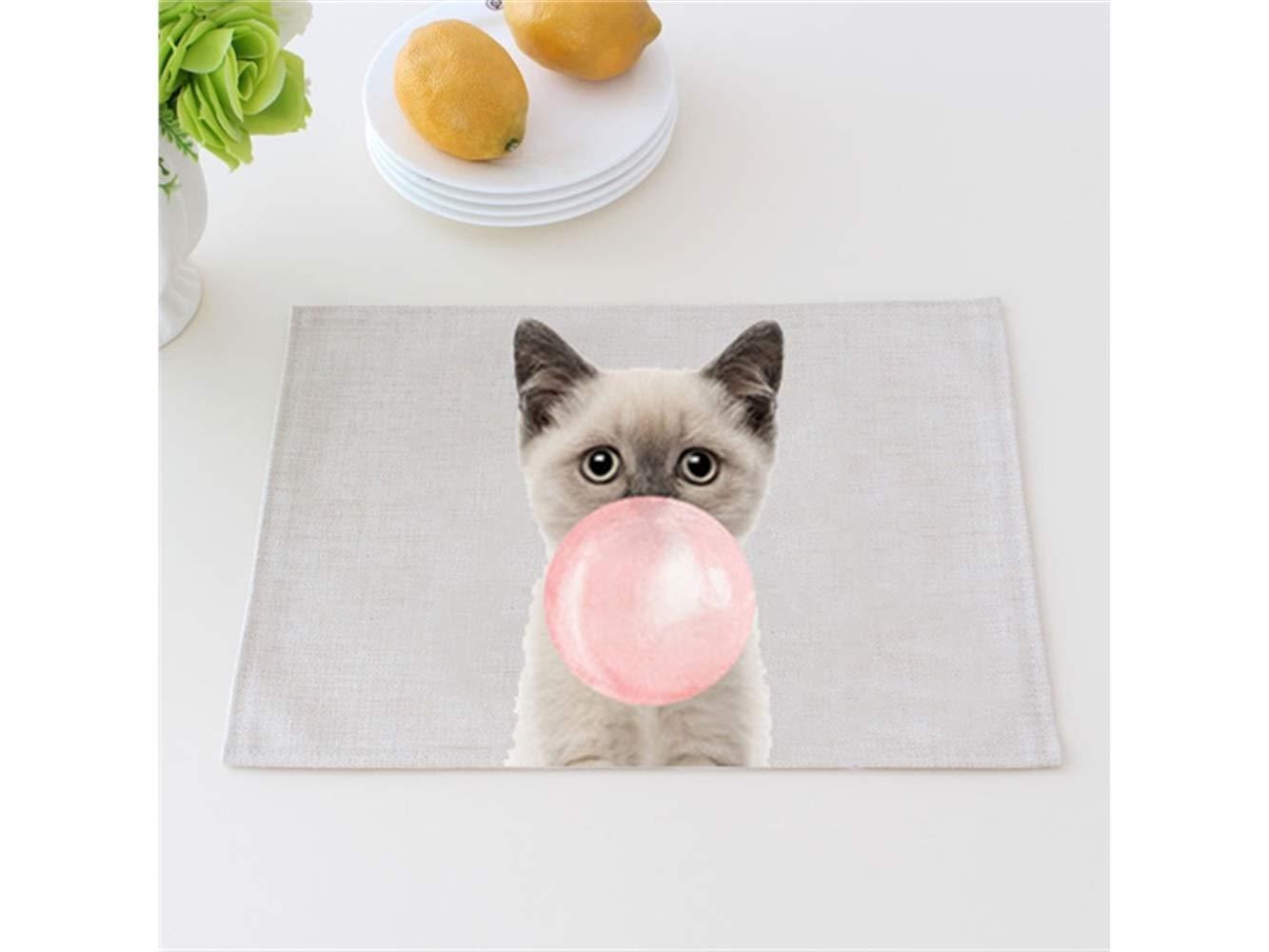 SOPOUITRO Fata in miniatura Tovagliette rettangolari in cotone con motivo animali per uso domestico in giardino (Cat)
