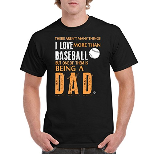 I Love Baseball Dad Fathers Day Birthday Gifts Men's T-Shirt (Large) - Black