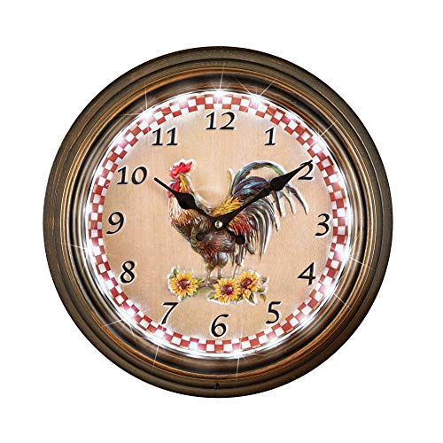Collections Etc Lighted Rooster Wall Clock with Remote Control - Border Lights for Easy-to-Read Display