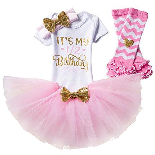 40cfa683ea30 Newborn Baby Infant Toddler Girls It s My 1st 2nd Birthday Cake Smash Shiny  Printed Sequin Princess Dress Romper Tutu Skirt with Bowknot Headband Leg  ...
