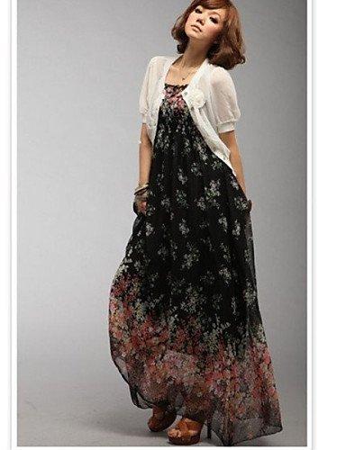 PU&PU Robe Aux femmes Swing Plage , Fleur Sans Bretelles Maxi Mousseline de soie , black-one-size , black-one-size