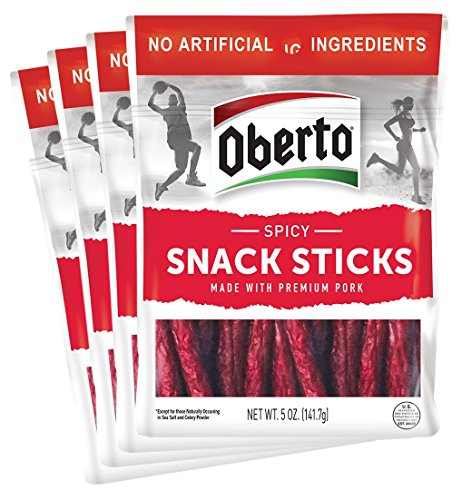 Oberto Spicy Snack Sticks, 5 Ounce (Pack of 4)