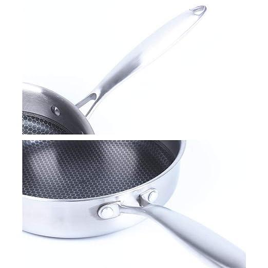 SKYyao Sarten acero inoxidable,Sartén de acero inoxidable de tres capas. Sartén pequeña sin aceite, no pegajosa, de 26 cm.: Amazon.es: Hogar