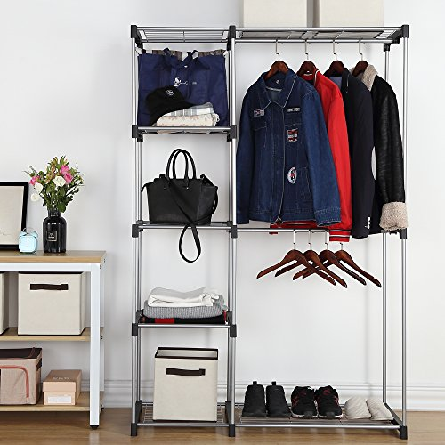 Housen Solutions Freestanding Closet Organizer Double Rod Garment Rack (Double Hang Closet)