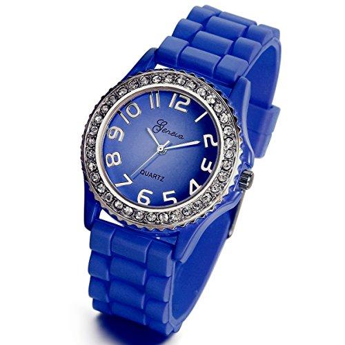 Lancardo Royal Blue Platinum Silicone Rubber Jelly Rhinestones Face Silver Bling Bezel Watch
