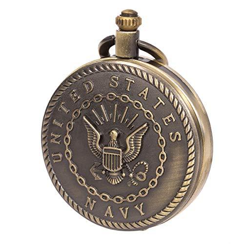 (SIBOSUN Pocket Watch Engraved United States Navy Mark for Eagle Scout Quartz Men's Chain Box U.S. Navy)