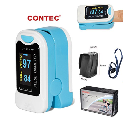 CMS50NA Fingertip Pulse Oximeter Oximetry Blood Oxygen Saturation Monitor with carrying case and (Lifestyle Carrying Case)