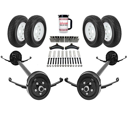 Tandem Axle Car Hauler - Rockwell American Tandem 3,500 lb Electric Brakes Trailer Axle Kit w/Springs, Ubolts, Hanger Kit, Wheels/Tires (95