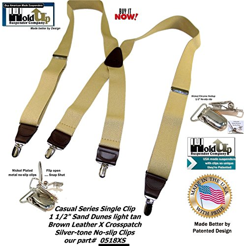 Holdup Suspender Company's Sand Dunes Tan Casual Series X-back Suspenders with Silver-tone No-slip Clips by Hold-Up Suspender Co. (Image #6)