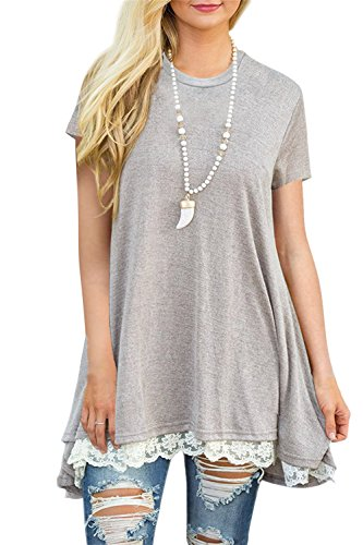 FERYSHE Womens Lace Short Sleeve A-Line Tunics Blouse Shirt Tops XXL Light Grey (Shirts That Go With Light Grey Suit)