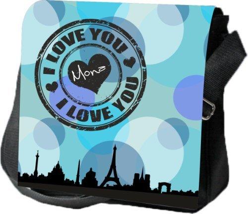 Livingstyle & Wanddesign Umhängetasche Damen Digital Reporter mit Namen, 4 L, schwarz, I love you