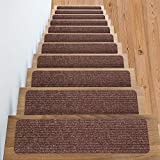 Non Slip Carpet Stair Treads + Double sided tape - Set of 13 Premium non skid indoor treads for wood stairs (30 inch X 8 inch) (Brown)