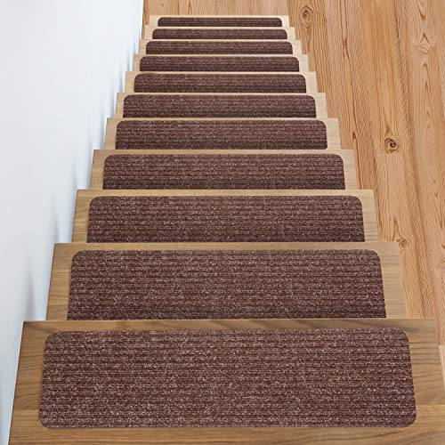 (Non Slip Carpet Stair Treads + Double sided tape - Set of 13 Premium non skid indoor treads for wood stairs (30 inch X 8 inch) (Brown))