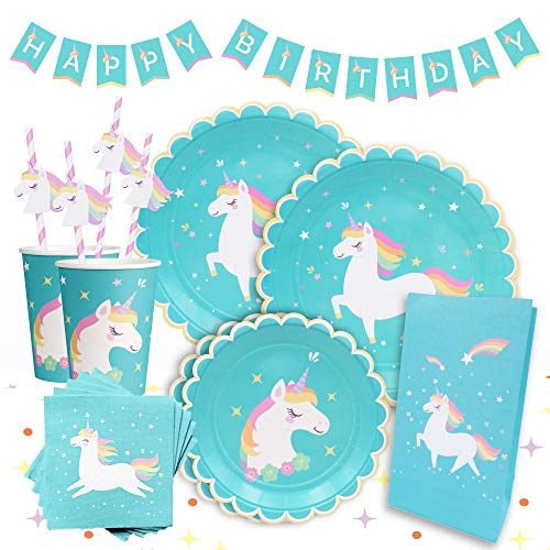 Gooji Beautiful Unicorn Theme Party Supplies Pack [114