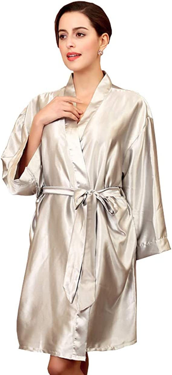 Amazon Co Jp Rojeam Women S Satin Kimono Robe Simple Pure Color Clothing Accessories