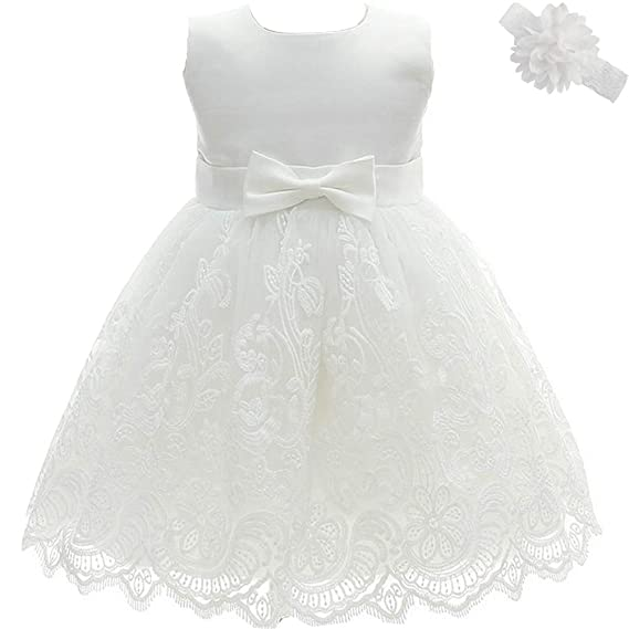 e6e568db56aaf AHAHA Robe Bebe Fille Ceremonie Princesse Mariage Robe Bapteme Fille Bebe -  Blanc 2 - Taille