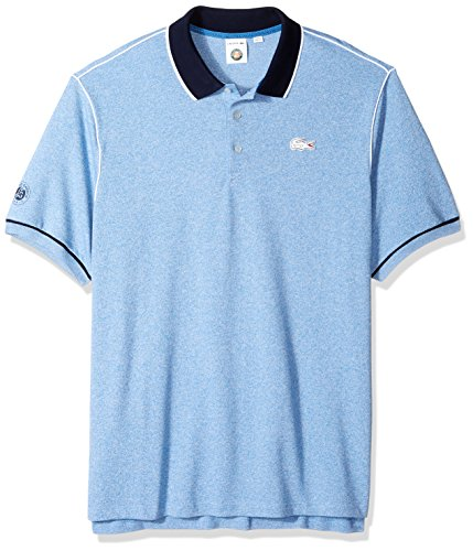 Lacoste Men's Short Sleeve Pique with Contrast Piping and Collar Polo, PH3374, Medway Jaspe/Navy Blue-Wh, (Contrast Collar Pique Polo Shirt)