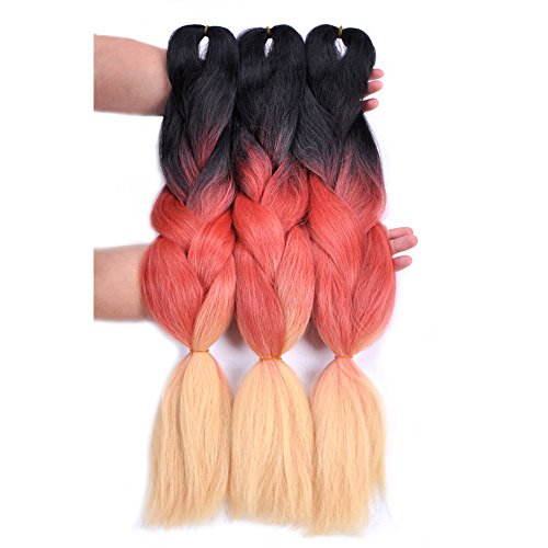 Jumbo Braiding Hair Ombre (Black/Red Orange/yellow) 3 Pcs Jumbo Braid Hair Extension Ombre Colors For Box Braid Senegal Twist Soft 24 -