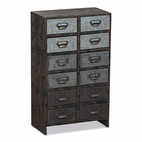 The Urban Chic Nightstand With 12 Drawers, Wood, Galvanized Metal, Label Holder Pulls, 24 1/2 Inches Tall, By Whole House Worlds by Whole House Worlds (Image #2)'