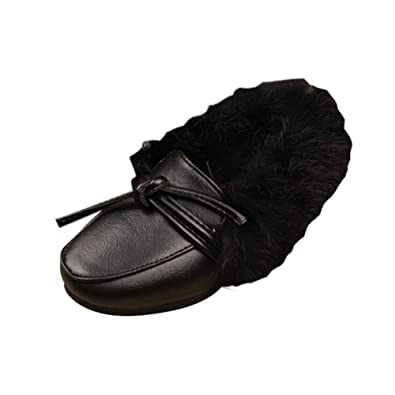 Muium Toddler Children Solid Leather Winter Bootie Kids Boys Girls Fashion Thick Winter Warm Sneakers Casual Soft Sport Shoes for 1-6 Years Old