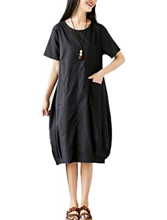 882e65f90b Mordenmiss Women s Cotton Linen Dress Summer Lantern Loose Midi Dress  Casual Tunic with Pockets(S