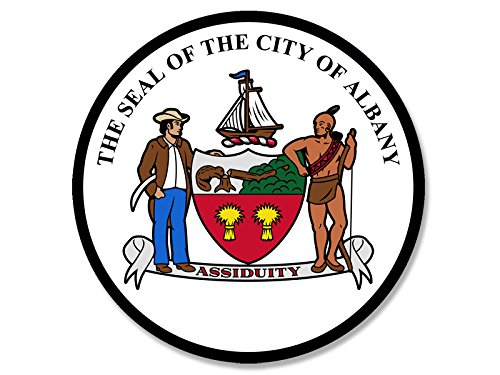 American Vinyl Round Albany City Seal Sticker (Logo NYC ny New York Historic State USA)