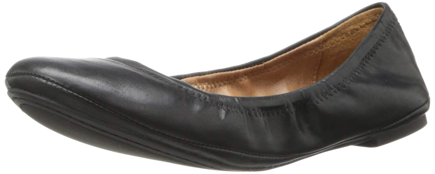 Lucky Brand Women's Lucky Emmie Ballet Flat, Black/Leather, 8.5 M US