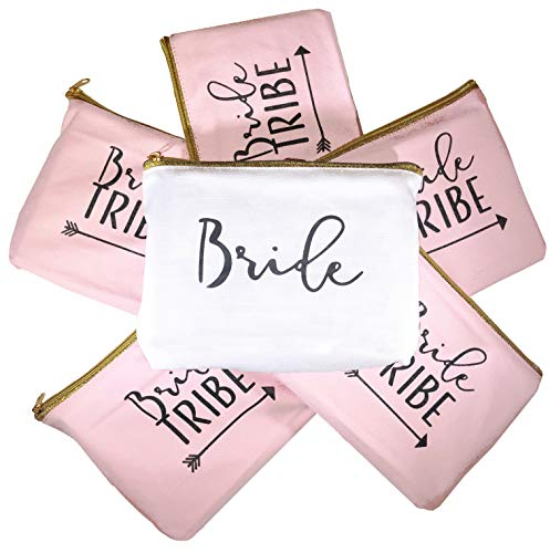 - 6 Piece Set | Bride Tribe Canvas Cosmetic Makeup Clutch Gifts Bag for Bridesmaid Proposal Box & Bridesmaids Bachelorette Party Favors (Rose Gold)