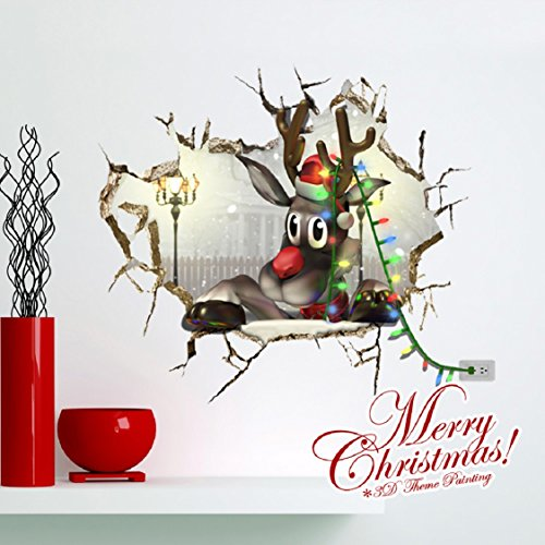 Cheap  3D Christmas Wall Sticker,Ikevan 67x58cm Christmas Reindeer Waterproof Environmental Protection PVC Sticker..