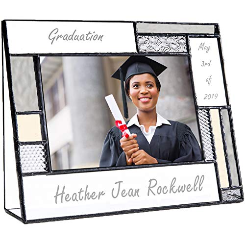 Graduation Picture Frames Custom Engraved Glass 4x6 Horizontal Photo Class of 2019 College High School Middle Graduate Grey and Antique Yellow J Devlin Pic 392-46H EP612 ()