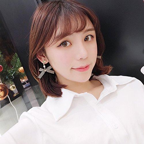 - Ja and South Korea pearl earrings earrings stripe pattern cloth cute student simple wild sprites to send his girlfriend bow