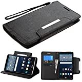 JoJoGoldStar LG G Vista 2 Case, G Stylo Case, Bicast PU Leather Folio Wallet Flip Cover with Card Slots and Kickstand, Comes with Wrist Strap, Stylus Pen, and Screen Protector - Black