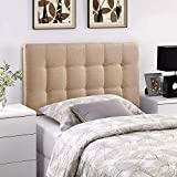 Modway Lily Tufted Linen Fabric Upholstered Twin Headboard in Beige