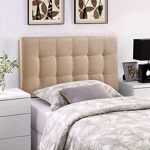 Modway Lily Tufted Linen Fabric Upholstered Twin Headboard in Beige (Beds Sale Tufted For)