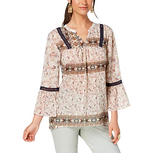 (Style & Co. Womens Petites Printed Ladder Stitch Peasant Top Beige PS)