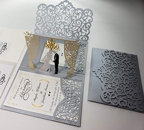 Pop up Wedding Invitation Pocket-Folds with Envelope. Unique and Elegant Laser Cut 3D Design by Tada Cards. (Silver Chandelier 10-Pack)
